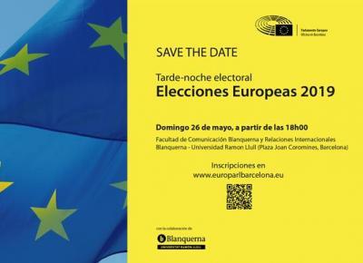 Tarde-noche electoral europea en la plaza Joan Coromines